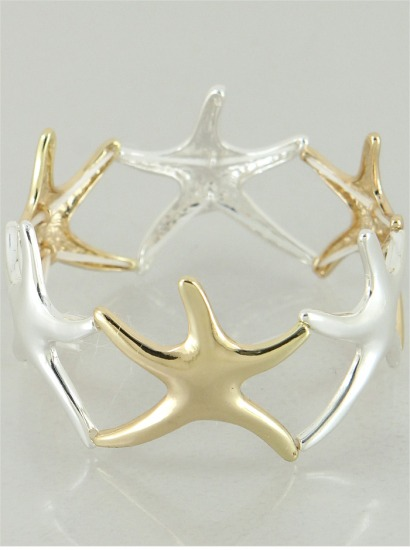 Silver/Gold Stretch Starfish Bracelet