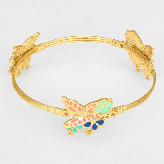 Resin Butterfly Bangle Bracelet
