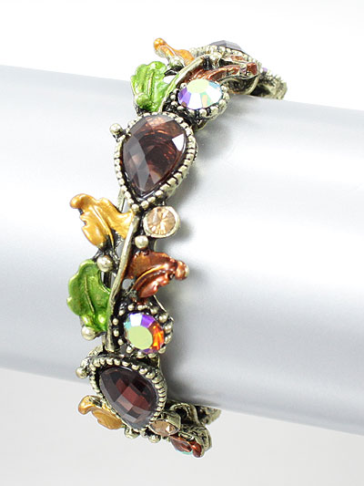 Flower Bangle Bracelet Wine/Brown