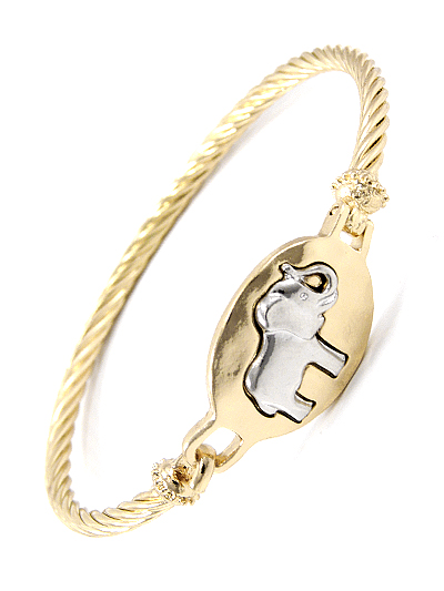 SILVER TONE ELEPHANT DESIGN, GOLD TONE METAL BANGLE BRACELET
