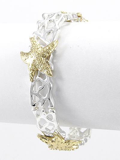 STARFISH, SILVER AND GOLD TONE METAL STRETCH BRACELET