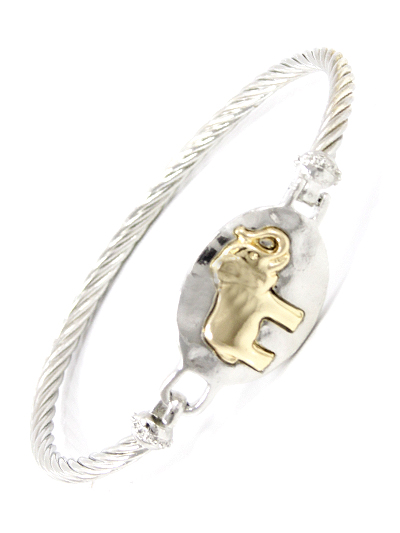 GOLD TONE ELEPHANT DESIGN, SILVER TONE METAL BANGLE BRACELET
