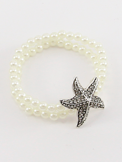 FASHION PEARL STARFISH STRETCH BRACELET