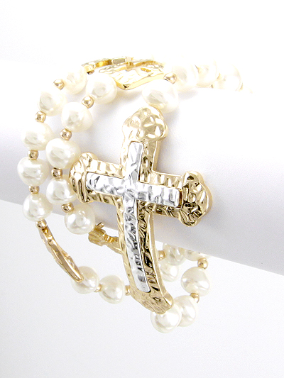 CROSS, WRAP AROUND PEARL STRETCH BRACELET