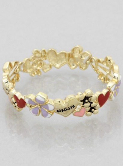 MOM THEME ENAMEL FLOWER BRACELET