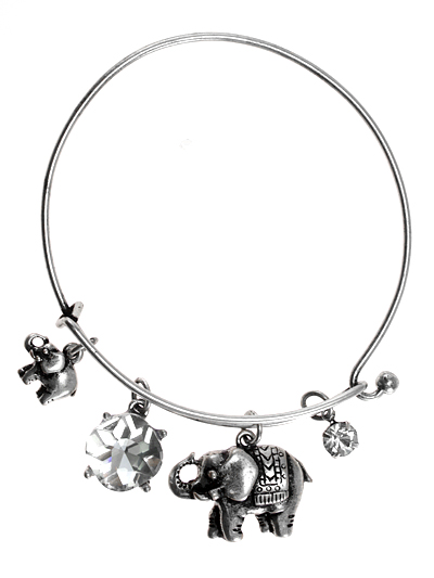 Elephant, Silver Tone  Hook Bangle w/ Assorted Accents