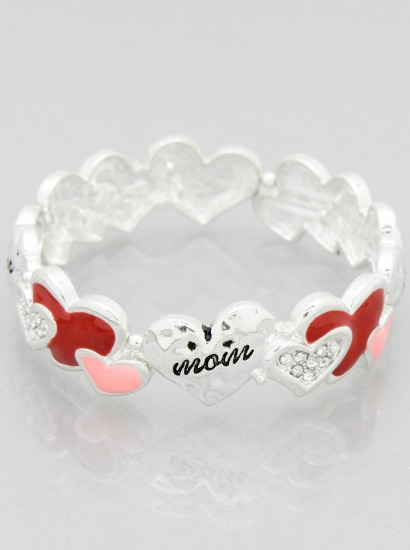 Mom Theme Heart Stretch Bracelet