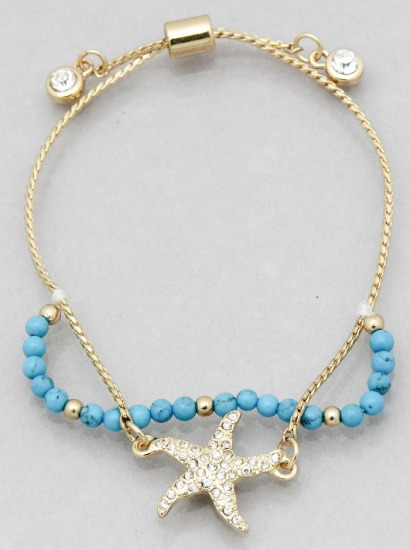 PAVE STARFISH BEADED PULL TIE BRACELET