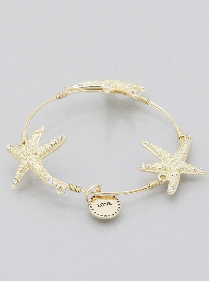 Flexi Wire Starfish Bangle Bracelet