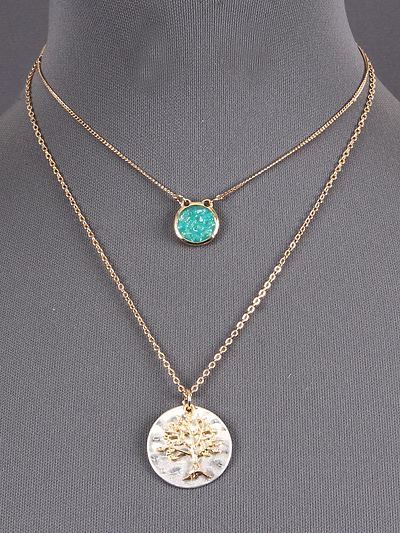 TURQUOISE STONE W/ TREE DESIGN, GOLD TONE NECKLACE