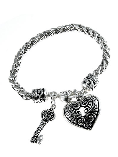 Heart and Key Filigree Bracelet