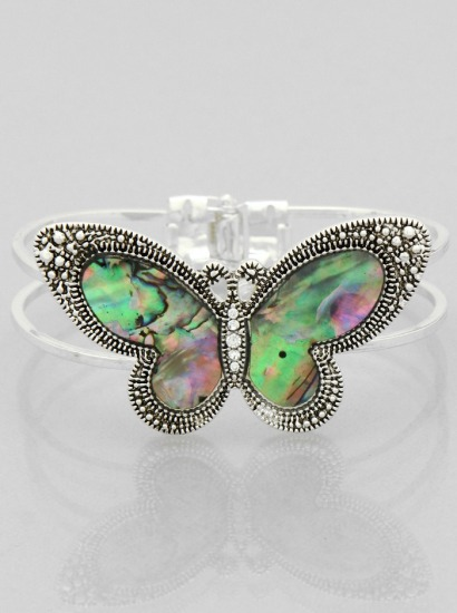 Silver Tone Abalone Hinge Style Butterfly Bracelet