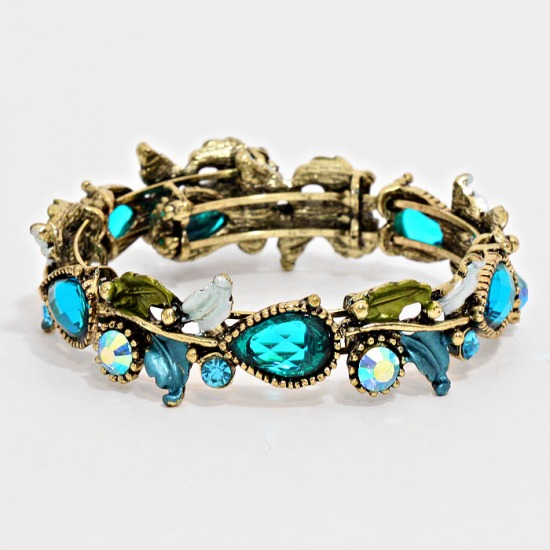 Crystal Accented Floral Cuff Bracelet