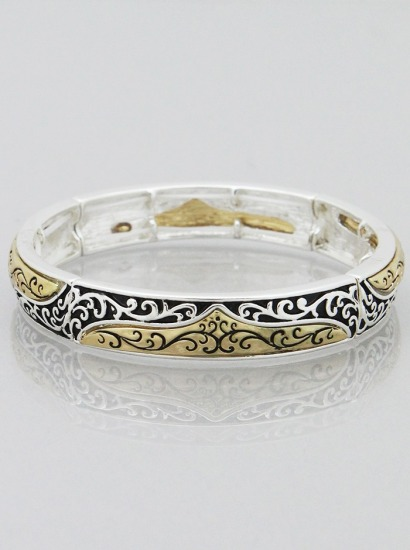ANTIQUE SILVER-GOLD FILIGREE TEXTURED STRETCH BRACELET