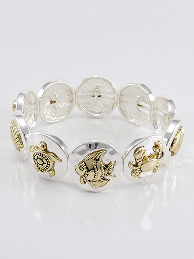 SEA LIFE ON DISK STRETCH BRACELET