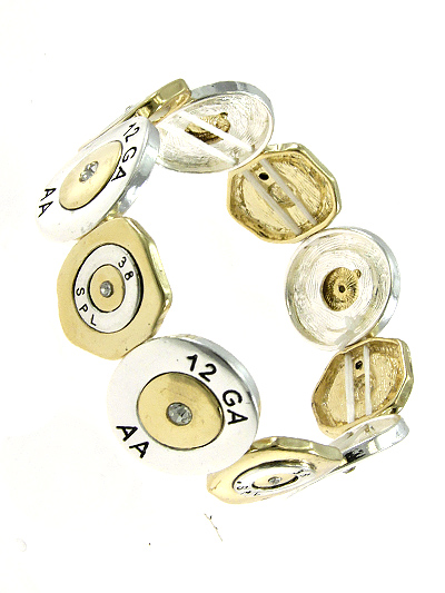 12 GA AA DESIGN SILVER AND GOLD TONE METAL STRETCH BRACELET