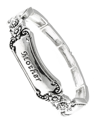 MOTHER, SILVER TONE ANTIQUE METAL STRETCH BANGLE