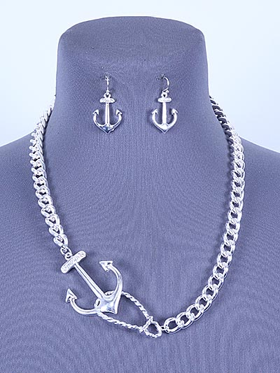 SILVER TONE, LINK NECKLACE SET W/ ANCHOR PENDANT AND EARRINGS