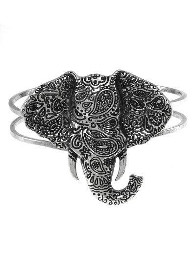 DESIGN PATTERN ELEPHANT, ANTIQUE SILVER TONE BANGLE BRACELET