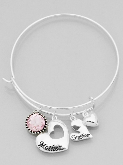 Mother and Daughter Heart w/ Crystal Etched Bangle Bracelet