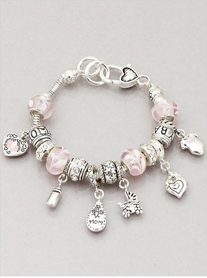 Mom Theme Textured Glass Beads Charm Bracelet