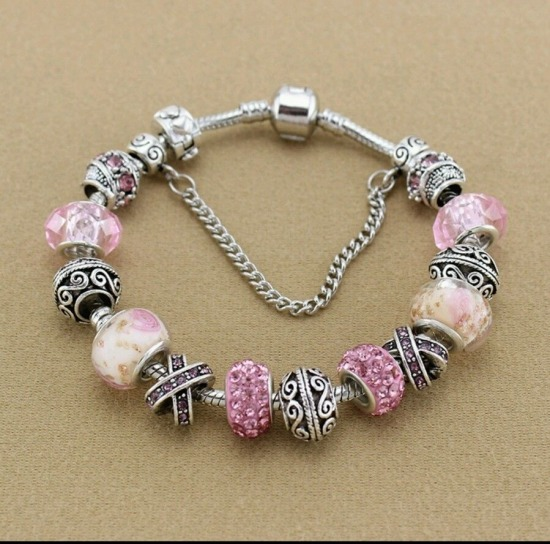 European Style Murano Bead Bracelet w/Charms Pink