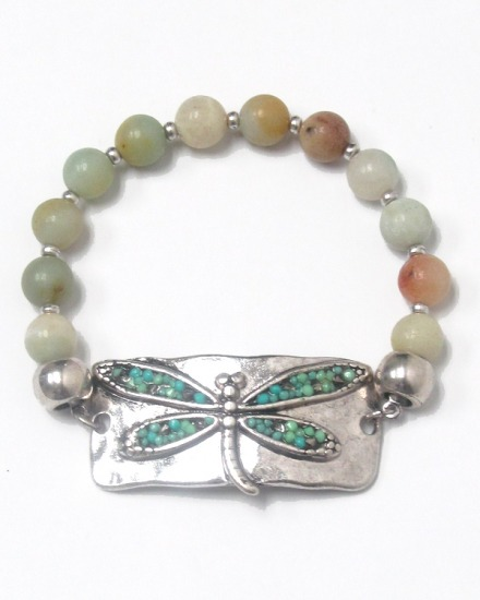 Beaded Dragonfly Stretch Bracelet