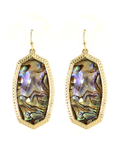 Abalone Fish Hook Earrings Gold Tone