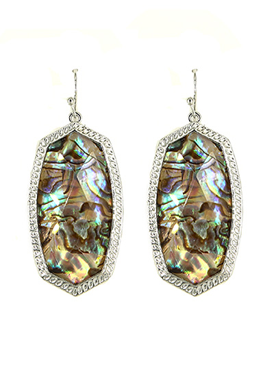 Abalone Fish Hook Earrings Silver Tone