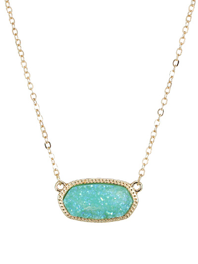 Druzy Turquoise Oval Pendant Necklace
