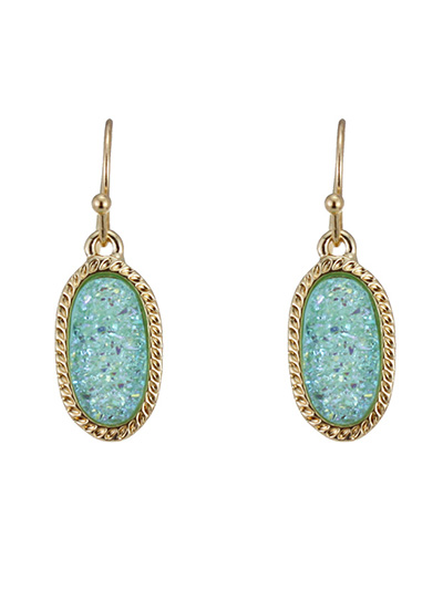 Druzy Turquoise Oval Shape Fish Hook Earrings