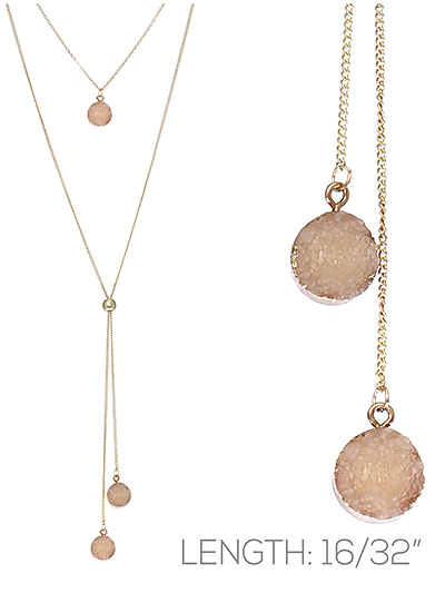 Round Druzy Slide Necklace