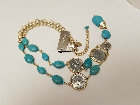 Chico's Isabella Turquoise Stone & Coin Gold Y Drop Necklace NWT