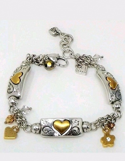 Brighton REMEMBER YOUR HEART Two Tone Crystal Link Bracelet